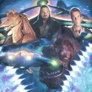 90s STAR WARS tie dye shirt / vintage 1999 / jar jar binks / phantom menace / Obi-Wan / Qui-Gon Jinn / underwater / seapunk / mens large