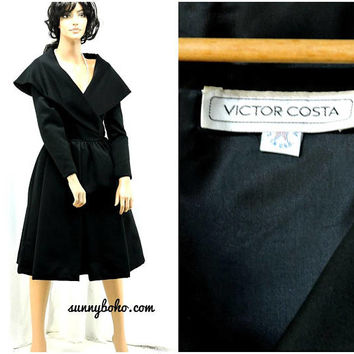 Victor Costa 50s style black dress / size 7 / 8 / formal evening dress / 1980s designer black cocktail party holiday dress