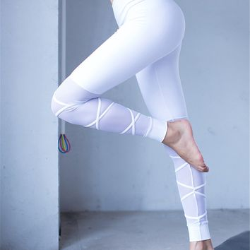 Nylon White Mesh Gym Yoga Leggings Cute Straps Cross Goddess Fitמess Legging Sexy Women