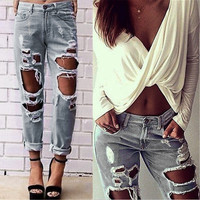 Sexy Women Ripped Jeans Slim Casual Denim Solid Casual Adventure Time Gothic Hollow Out Pant Straigh Tassel Trousers jeans femme