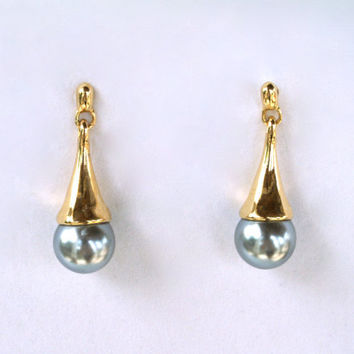 Tear Drop Earrings Two Tone Dangle Vintage Posts
