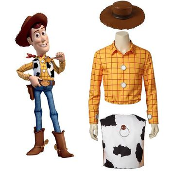 Cool Toy Story Cosplay Woody Costume Cowboy Suit Hat Carnival Adult Men Halloween Party Custom Made Superhero Only Vest Shirt PantsAT_93_12