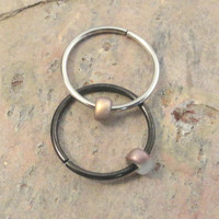 Smokey Grey and Gold Beaded Cartilage Hoop Earring Septum Tragus Nose Ring Upper Ear Piercing 20 Gauge