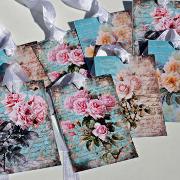 Pink Rose Thank You Tags Tiffy Blue and Pink Set of 8