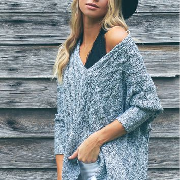Cable Knit V-Neck Sweater Blue