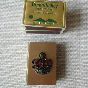 Vintage Matchbox Holder Brushed Gold Tone with Crown Emblem Gold Wood Matches Italy & Matches Sweden