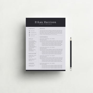 Resume Template + Cover Letter Template for Word - Modern and Creative Resume Design, CV, Teacher, CV Template, Instant Download