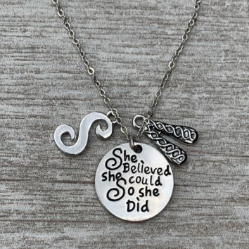 Personalized Irish She Did Dance Necklace with Letter Charm