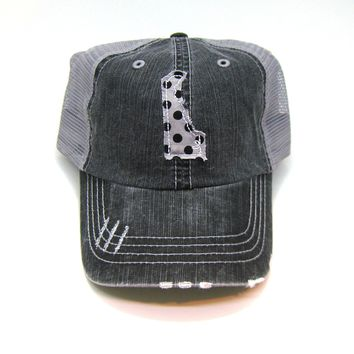 Delaware Trucker Hat - Distressed - Floral Fabric State Cutout