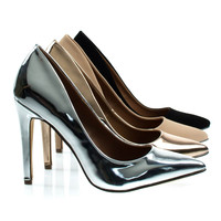 Cadence1 Silver Metallic By Bonnibel, Padded Classic High Heel Pump w Pointed Toe, Stiletto Heel