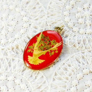 Vintage Necklace Pendant, Red Oval Portrait, White Dove, Green Mistletoe, Gold Tone Metal, 1970s, Figural Bird Christmas Jewelry