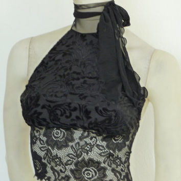 Holiday Collection black Velvet Burnout Tango Halter Top Size US 4 and 6 Dancewear Evening Top stunning Designer  Tango Chamise