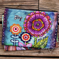 Joy Doodle Flowers Cosmetic Bag, Makeup Bag With Inspirational Art - Zippered Pouch - Pencil Bag - Whimsical Art - Whimsical Flower Art