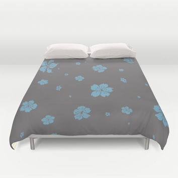 Blue Cherry - In Memory of Mackenzie Duvet Cover by Maria Moreno