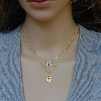 Gold Evil Eye Necklace, Spiritual necklace, Yoga necklace