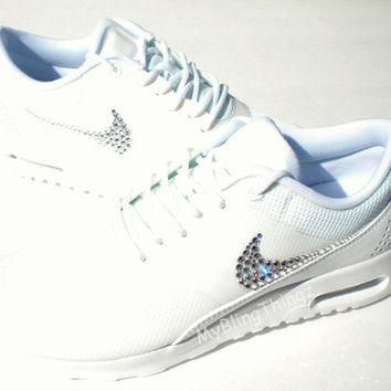 SALE!! - Nike Air Max Thea Shoes - ALL WHITE / Triple White / White - Bedazzled with 1