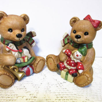 Teddy Bears Porcelain Figurines by Homco Number 5251  Christmas Bears set of 2