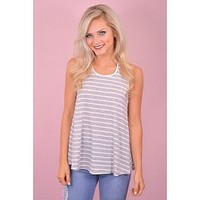 My Stripe Tank in Grey and White