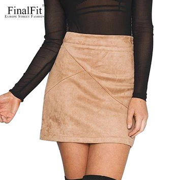 FinalFit Suede Tight Skirt, Spring Summer&Autumn Bodycon Sexy Mini Short Skirt