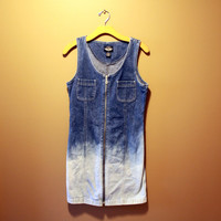 Bleached ombre denim jean zip up dress ONE OF A KIND