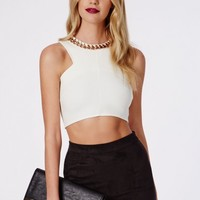 Missguided - Chain Necklace Racer Neck Crop Top White