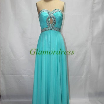 Sweetheart green prom dress Crystal Beading Chiffon evening prom gowns with Sequins cheap Pleated Long Prom Dress