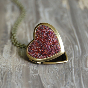 CRUSHED Druzy Crystal Heart Locket Necklace