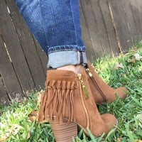 Fringe Booties in Brown