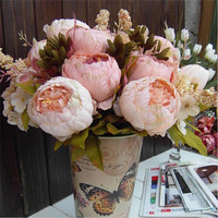 Hot Sale 2 Color 8 Head Bouquet Silk Peony Artificial Flowers Home Party Decor Wedding Decoration Flores Artificiales