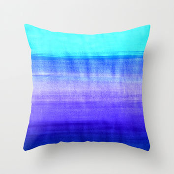 Ocean Horizon - cobalt blue, purple & mint watercolor abstract Throw Pillow by Tangerine-Tane