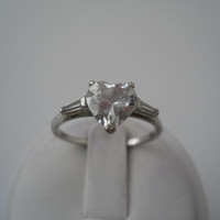 Sterling Silver 925 Crystal Heart Ring Size 9 A 925