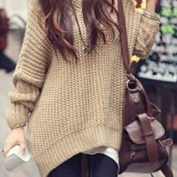 Hooded Chunky Brown Pullover