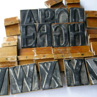 Vintage Alphabet Letter Stamps, Rubber Stamps, Craft Supplies