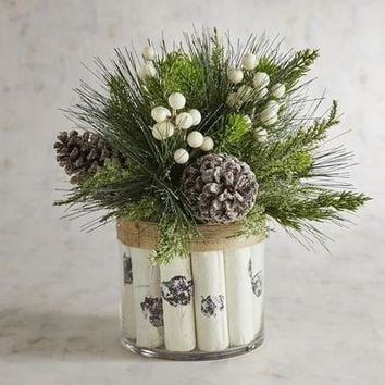 LED Pre-Lit Faux Birch & Pine Arrangement
