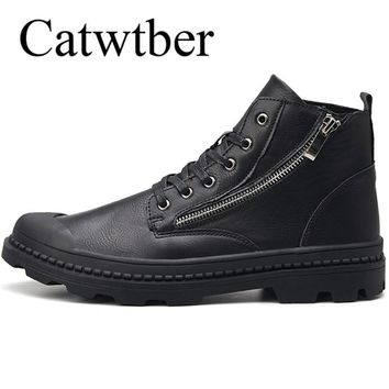 Catwtber Leather Boots Men Chelsea Boots Botas Anti-cold Shoes Man Ankle Boots Winter Doc Martins Boots Man Dr Martens Outdoor