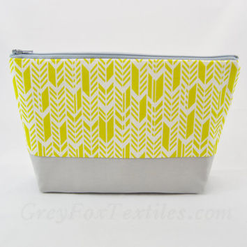 Yellow chevron cosmetic bag, feather, herringbone, arrow print, large pencil case, makeup bag, zipper pouch, organizer