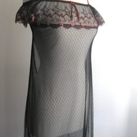 Vintage Black Sheer Off the Shoulder Gown
