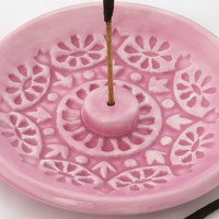 Incense Stick Holder - Incense Burner - Pink Pastel Ceramic