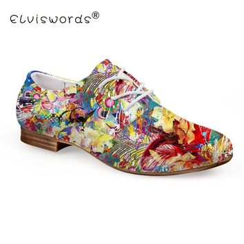 ELVISWORD Oil Painting Flower Printed Flat Shoes Women Fashion Summer Leather Shoes Ladies Oxford Shoes for Females Casual Shoes