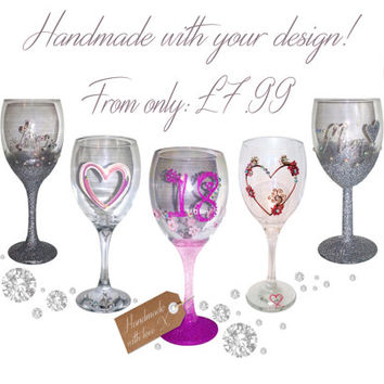 Hand painted wine glass, hand made wine glasses.......MADE TO ORDER