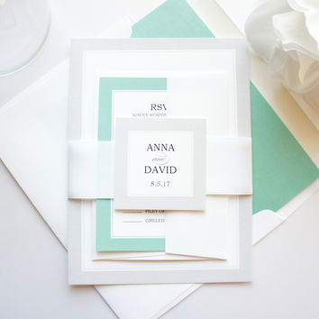 Ombre Mint Wedding Invitation - SAMPLE SET