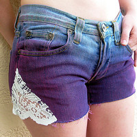 Ombre lace shorts