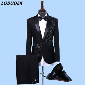 Adult Men's Suits stage Costume Wedding groom slim clothing Host Party Blazers Group musical performance Bar Crystals slim suit