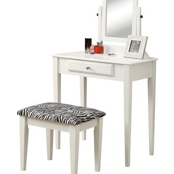 Vanity Set - 2Pcs Set / White With A Zebra Fabric Stool