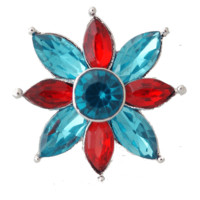 "Chunk Snap Charm Red and Turquoise Crystals 22mm, 3/4"" Diameter"