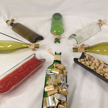 Recycled Wine Bottle  - Wine Bottle Serving Tray - Repurposed Wine Bottle - Incense holder  - 2 Matching Halves = 1 Complete Bottle - GOLD