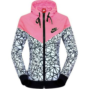 DCCKB3R NIKE Women Zip Hooded Sweatshirt Jacket Sport Cardigan Coat Windbreaker