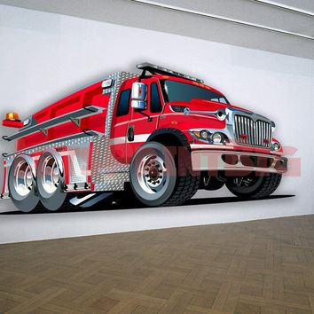 Fire Truck Hot Rod Muscle Car WALL DECAL REMOVABLE REPOSITIONABLE