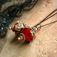 Lush, Blood Red Crystal Earrings, Handmade, Natural Copper, Sparkling Gothic