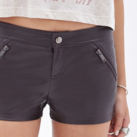 Faux Leather Zippered Shorts